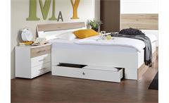 Schlafzimmer Cheep mit Bett LED Nachtkommoden in weiß San Remo-Eiche