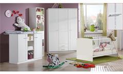 Babyzimmer weiß Strass Elly 3-teilig Babybett Schrank Wickelkommode mit Aufsatz