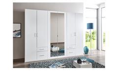 Kleiderschrank Freiburg 6-türig Schlafzimmer weiß mit Spiegel B 270 cm