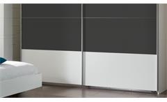 Schlafzimmer Set Ilona Alpinweiß anthrazit mit Schwebetürenschrank Bett 180x200