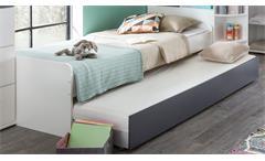Bett Joker 90x200 Jugendbett Alpinweiß Kastenbett Bettgestell mit Ausziehliege