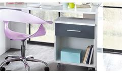 Schreibtisch Joker Alpinweiß anthrazit Computertisch PC-Tisch mit Rollcontainer