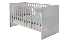Babybett Billu Alpinweiß Gitterbett mit Bettschubkasten Eiche Sägerau Kinderbett