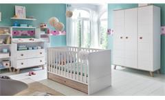 Babyzimmer Set 2 Billu Alpinweiß Eiche Sägerau 4-tlg Gitterbett Wickelkommode