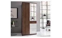 Kleiderschrank Click Nussbaum und Alpinweiß Drehtürenschrank 90 cm mit Spiegel