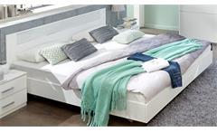Futonbett Pamela 140x200 Bettgestell Alpinweiß und Glas weiß Schlafzimmer Bett
