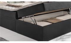 Boxspringbett Mallorca Bett für Schlafzimmer in anthrazit mit Topper 180x200 cm