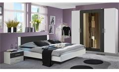 Schlafzimmer NORA in weiß und anthrazit  Doppelbett Kleiderschrank
