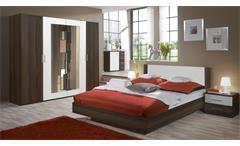 Schlafzimmer NORA in Nussbazm und weiß Doppelbett Kleiderschrank