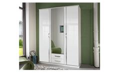 Kleiderschrank Trio Schrank in weiß Hochglanz Chrom 135 cm mit Spiegel