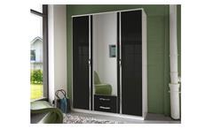 Kleiderschrank Trio Schrank in schwarz Hochglanz weiß Chrom 135 cm mit Spiegel