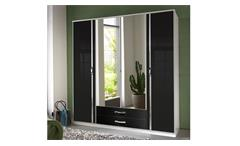 Kleiderschrank Trio Schrank mit Spiegel schwarz Hochglanz Chrom 180 cm