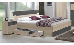 Bettanlage Xanten Doppelbett Futonbett 180 mit Nachtkommoden in Eiche anthrazit