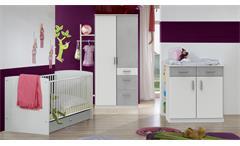 Babyzimmer Joker Set 1 weiß Beton lichtgrau Kinderzimmer mit Gitterbett 70x140