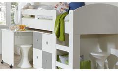 Hochbett Joker Jugendbett mit Schreibtisch weiß Beton lichtgrau Jugendzimmer