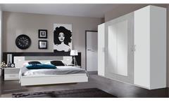 Schlafzimmer ANGIE in weiß mit Beton lichtgrau mit LED