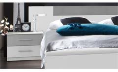 Schlafzimmer Angie in weiß mit Beton lichtgrau Kleiderschrank Futonbett mit LED