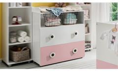 Wickelkommode TÖRE Wickeltisch in weiß und rosa Babyzimmer