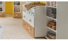 Wickelkommode Töre Wickeltisch in weiß und Plankeneiche Babyzimmer