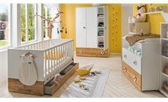 Babyzimmer Töre weiß Plankeneiche mit Gitterbett Wickelkommode 3-teiliges Set