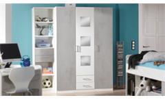 Kleiderschrank Rocco Drehtürenschrank weiß Beton grau mit Spiegel Jugendzimmer