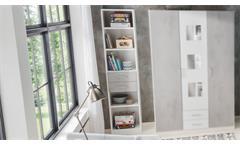 Regal Rocco Standregal Bücherregal Schubkästen weiß Beton grau Jugendzimmer