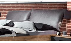 Futonbett Detroit Bettgestell mit Polster Industrial Design Plankeneiche Metall
