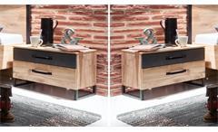 Nachtschrank Detroit 2er Set Nachttisch Industrial Design in Plankeneiche Metall