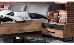 Bettanlage Detroit Bettgestell mit Polster Industrial Design Plankeneiche Metall