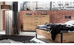 Kommode Detroit Anrichte Schrank Industrial Design in Plankeneiche Metall