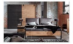 Schlafzimmer Detroit Set 2 Plankeneiche Metall 4-teilig  Industrial Design