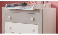 Wickelkommode Kiga Wickeltisch in weiß und Beton lichtgrau Babyzimmer