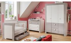 Babyzimmer Kiga Kinderzimmer 3-teiliges Set in weiß und Beton lichtgrau