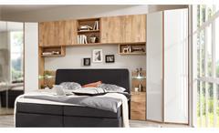 Bettbrücke New York C Bettüberbau Kleiderschrank in weiß und Plankeneiche