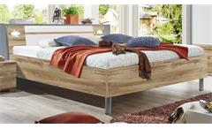 Futonbett EASY BEDS A 180x200cm Plankeneiche weiß LED