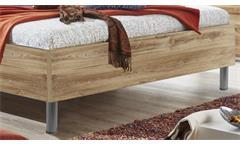 Futonbett Easy Beds A Bett Doppelbett 180x200 in Plankeneiche und weiß mit LED