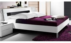 Futonbett EASY BEDS C Bett 180x200cm in weiß und Glas schwarz