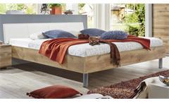 Futonbett EASY BEDS D Bett 180x200cm in Plankeneiche und Polster weiß