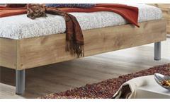 Futonbett Easy Beds D 180x200 Bett Doppelbett in Plankeneiche und Polster weiß