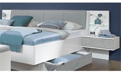 Futonbett Virgo Bett weiß Beton lichtgrau 180x200 mit LED und Nachtschränke