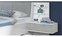 Futonbett Virgo Bett weiß Beton lichtgrau 180x200 mit LED und NachtschränkeFutonbett Virgo Bett weiß