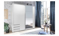 Schwebetürenschrank Emden Kleiderschrank Schlafzimmerschrank weiß inkl. Spiegel