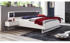 Bettanlage weiß Valencia graphit Glas grey Bett Schlafzimmer inkl. LED 180x200