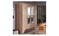Kleiderschrank Holz Spiegel Mainau 4-trg. Hickory-Oak Drehtürenschrank 180 cm