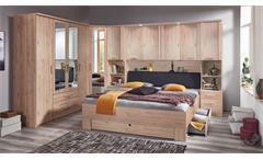 Schlafzimmer 180x200 Spiegel Mainau Hickory-Oak 4-tlg. Kleiderschrank Bett