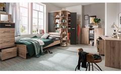 Jugendzimmer Komplettset Kinderzimmer Cariba 7-tlg San Remo Eiche graphit 90x200