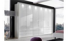 Kleiderschrank LOFT Schrank in weiß und Weißglas 300 cm
