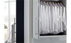 Kleiderschrank Loft Falttürenschrank Schrank in weiß und Weißglas 300 cm
