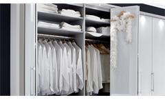 Schlafzimmer Set Loft Kleidertschrank Bett Nachtkommode in weiß mit Glas
