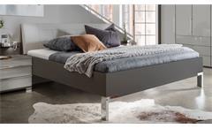 Bett Loft Futonbett Bettgestell Schlafzimmer in grau mit Polsterkopfteil 180x200
